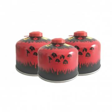 227g Round Shape Portable butane gas cartridge with Valve and Cap