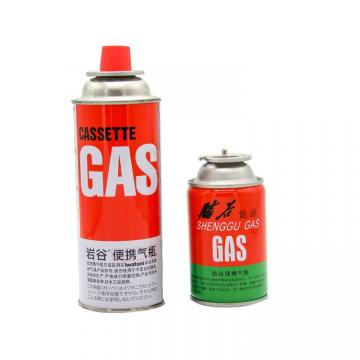 METAL BOX straight aerosol can AND straight wall butane fuel cartridge net weight 220g